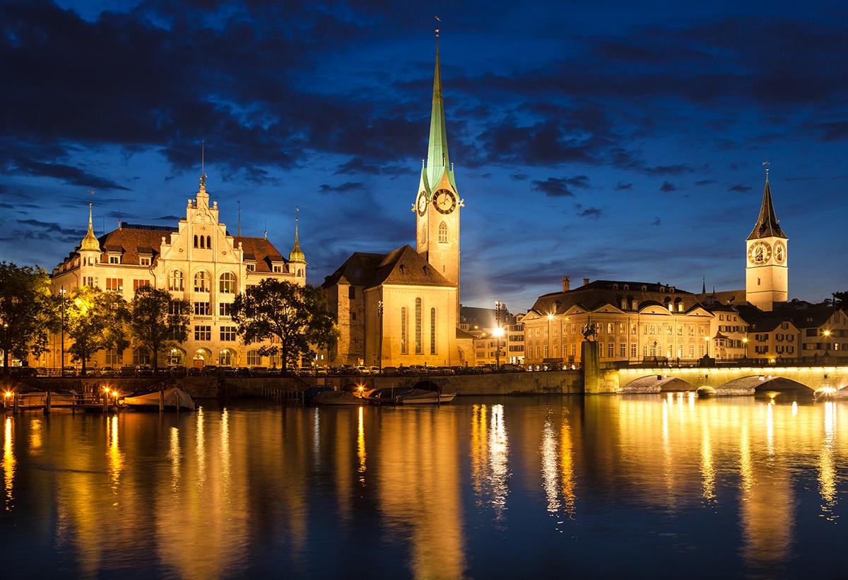 Zurich city view by night